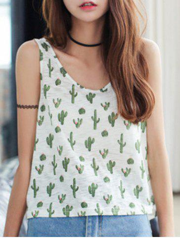 Affordable Women's Chic Sleeveless Scoop Neck Cactus Tank Top