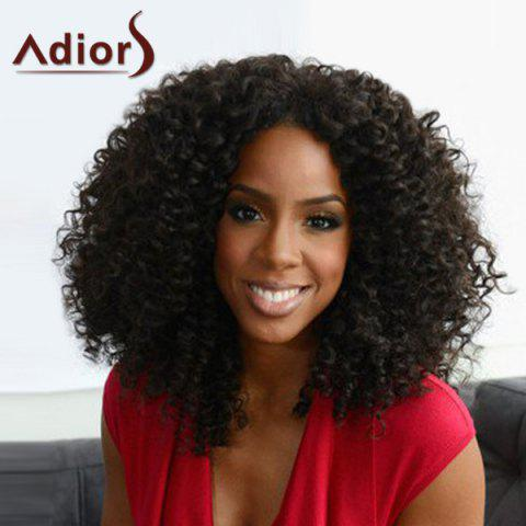 Affordable Trendy Black Heat Resistant Synthetic Shaggy Afro Curly Capless Adiors Wig For Women