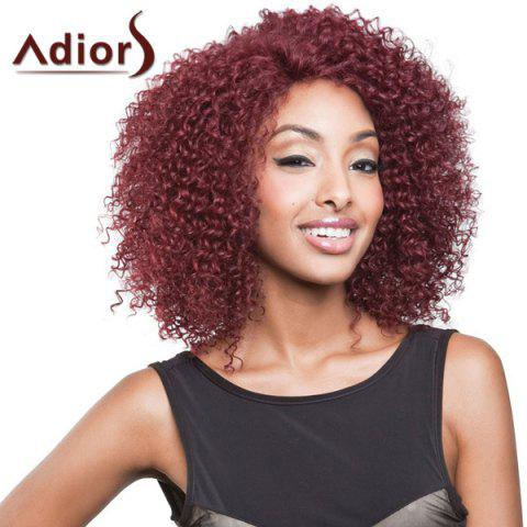 Buy Attractive Medium Dark Red Capless Shaggy Afro Curly Synthetic Adiors Wig For Women