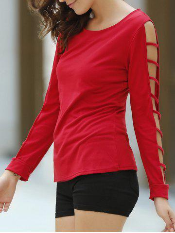 Discount Casual Cut Out Long Sleeve Solid Color Pullover T-Shirt For Women