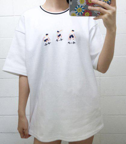 Unique Leisure Style Round Collar Short Sleeve Embroidered Skater T-Shirt For Women