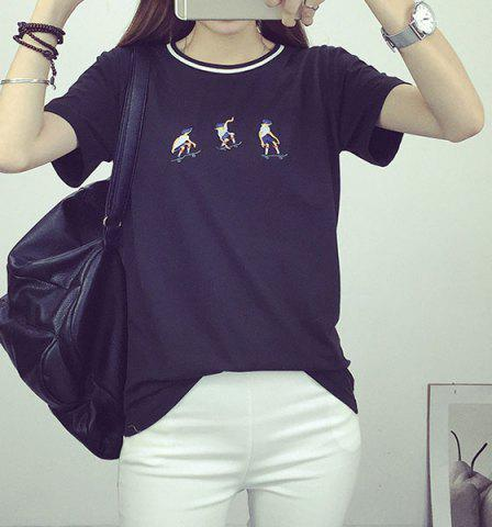 Store Leisure Style Round Collar Short Sleeve Embroidered Skater T-Shirt For Women