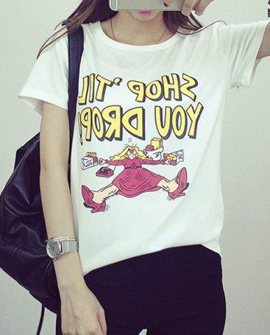 Sale Preppy Style Round Collar Short Sleeve Letter and Cartoon Print T-Shirt For Women