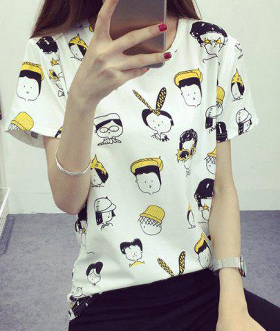 Unique Preppy Style Round Collar Short Sleeve Full Cartoon Figures Print T-Shirt For Women