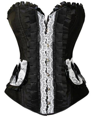 Fancy Retro Style Strapless Lace-Up Bowknot Embellished Lace Splicing Corset For Women BLACK M