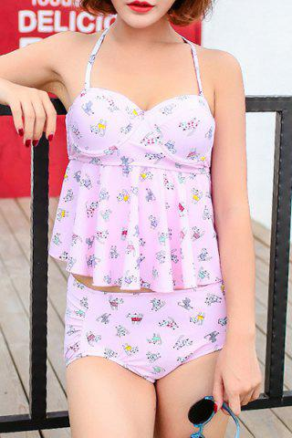 Fancy Sweet Halter Cat Print High Waist Women's Tankini Set