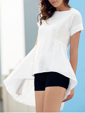 Fashion Stylish Round Neck Short Sleeve Asymmetrical T-Shirt For Women