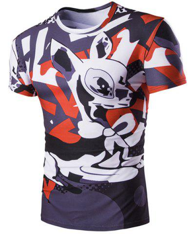 Outfit Slim Fit Pullover Deer Printed T-Shirt For Men