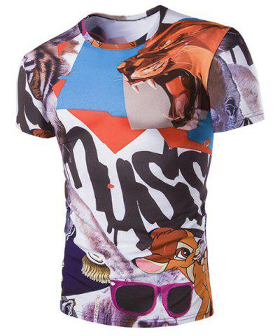 Sale Slim Fit Pullover Cartoon Animals Printed T-Shirt For Men