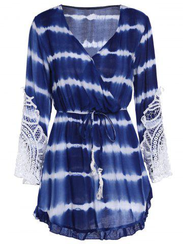 New Lace Insert Tie Dye Faux Wrap Dress BLUE S