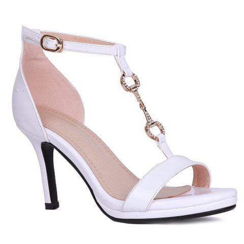 Fancy Trendy T-Strap and Metal Design Sandals For Women