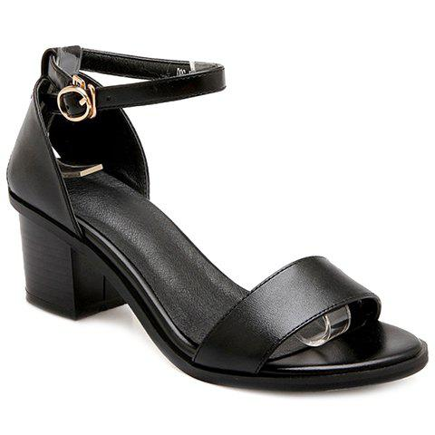 PU Leather Block Heel Ankle Strap Sandals - BLACK 39