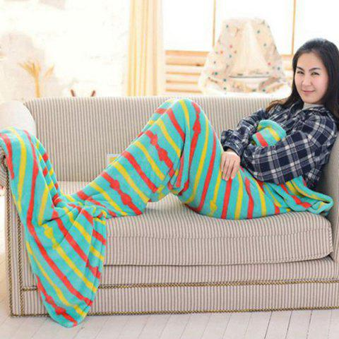 Buy Fashion Summer Nap Bowknot Striped Pattern Fish Tail Shape Mermaid Design Blanket