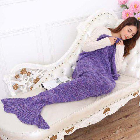 Mode Nap Poisson été Queue Forme Mermaid design Knitting Blanket Pourpre