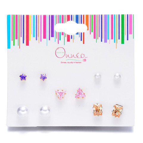 Online A Suit of Star Geometric Faux Pearl Earrings