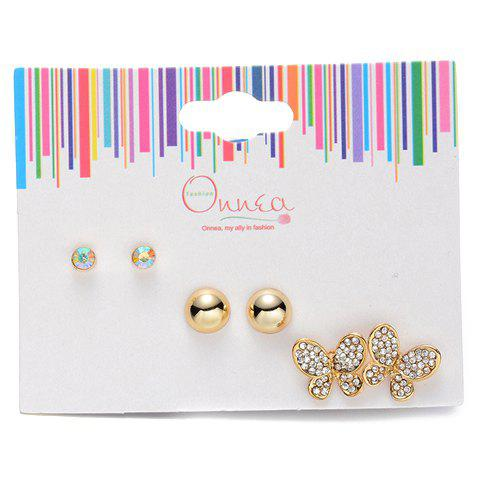Trendy A Suit of Alloy Rhinestone Butterfly Earrings