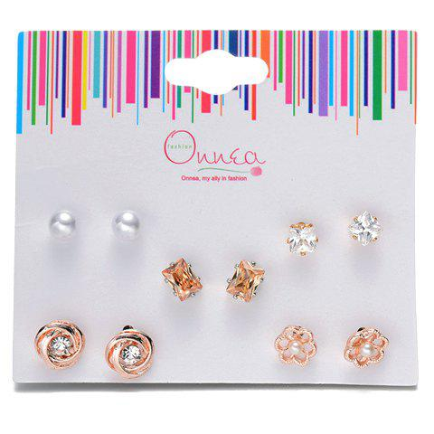 Shop A Suit of Floral Rhinestone Faux Pearl Earrings