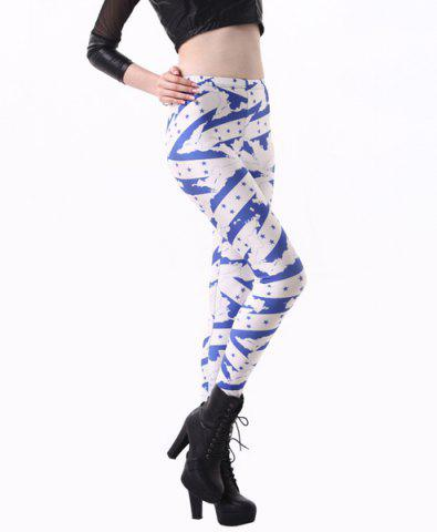 Latest Fashionable High Waisted Slimming Yoga Pants For Women - ONE SIZE(FIT SIZE XS TO M) BLUE AND WHITE Mobile