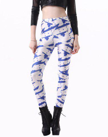 Fashionable High Waisted Slimming Yoga Pants For Women - Blue And White - One Size(fit Size Xs To M)