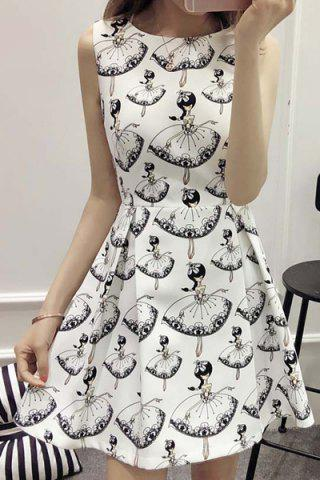 Discount Elegant Round Neck Sleeveless Print Pleaed Dress For Women