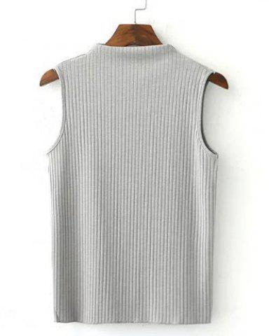Buy Simple Turtle Neck Sleeveless Pure Color Slimming T-Shirt For Women