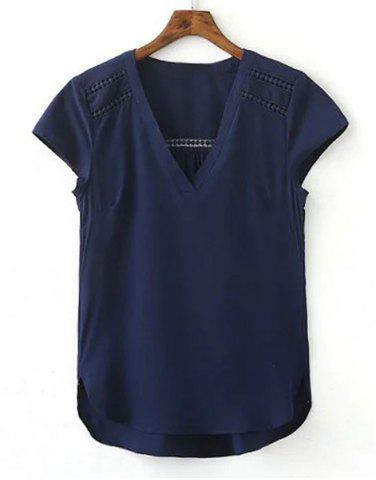 New Simple V neck Cap Sleeve Pure Color Spliced Blouse For Women