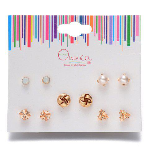 Outfits A Suit of Triangle Knot Faux Pearl Earrings