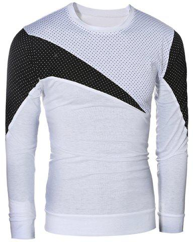 Buy Casual Color Block Pullover Long Sleeves T-Shirt For Men - L WHITE Mobile