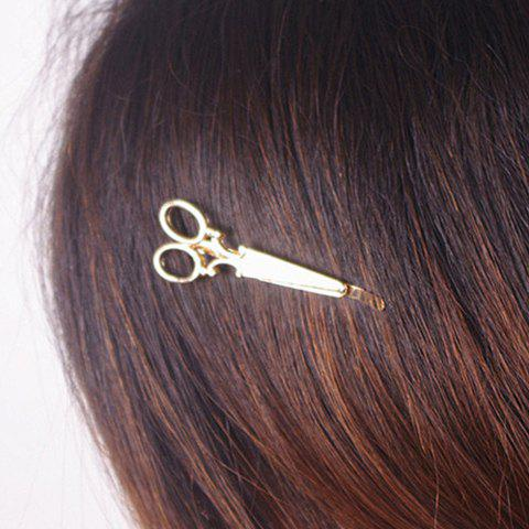 Fashion Stylish Scissors Shape Alloy Hairpin For Women GOLDEN