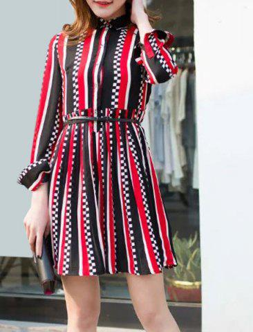 Chic Casual Shirt Collar Long Sleeve Striped Pleated Dress For Women