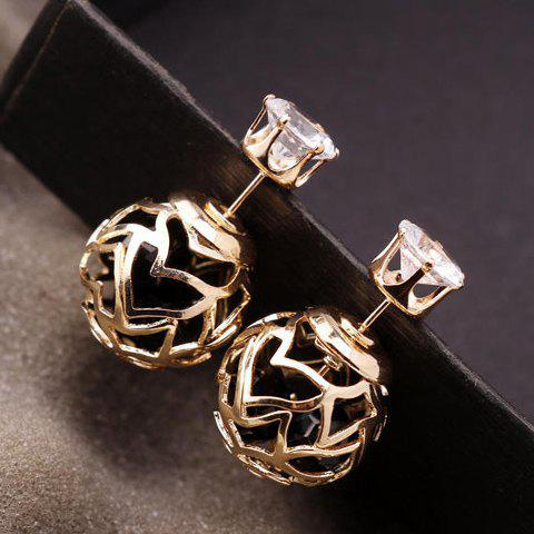 Online Pair of Hollow Out Double Ended Faux Zircon Stud Earrings - BLACK  Mobile