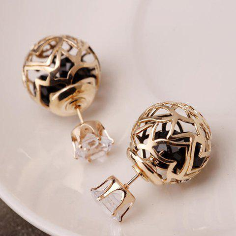 Latest Pair of Hollow Out Double Ended Faux Zircon Stud Earrings - BLACK  Mobile