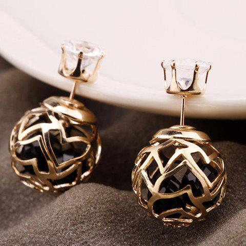 Outfit Pair of Hollow Out Double Ended Faux Zircon Stud Earrings BLACK