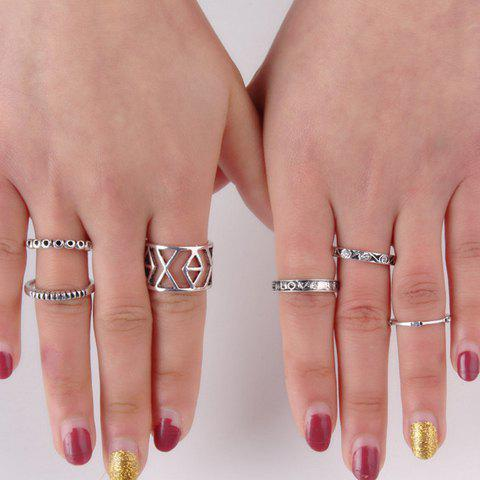 Chic Stylish 6 Pcs/Set Rhinestone Emboss Letters Hollow Out Alloy Rings For Women