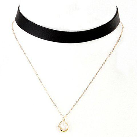 Online Double Layer Water Drop Necklace BLACK