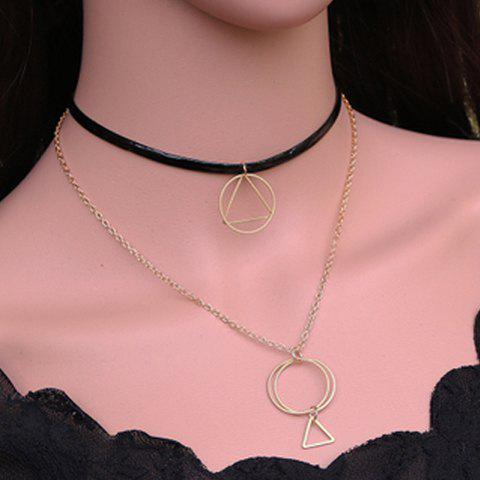 Online Multilayered Geometric Hollow Out Necklace GOLDEN