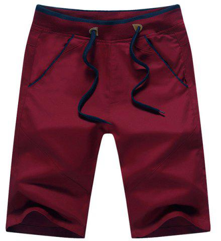 Fashion Straight Legs Lace Up Solid Color Shorts For Men