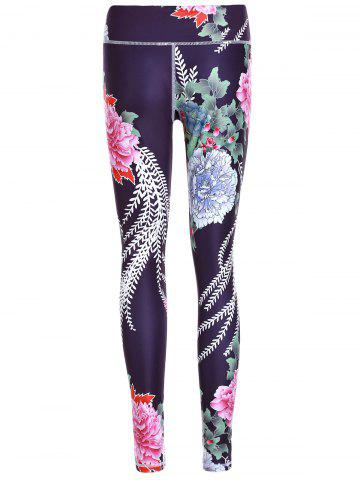 Trendy Sporty Floral Print Slimming Pants For Women - S BLACK Mobile