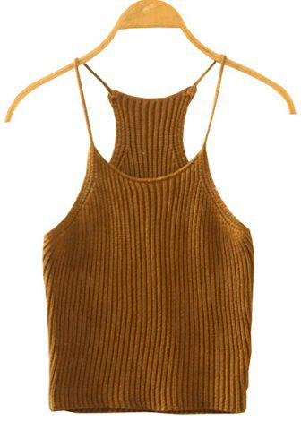Fancy Sweet Spaghetti Strap Candy Color Knitted Tank Top For Women KHAKI ONE SIZE(FIT SIZE XS TO M)