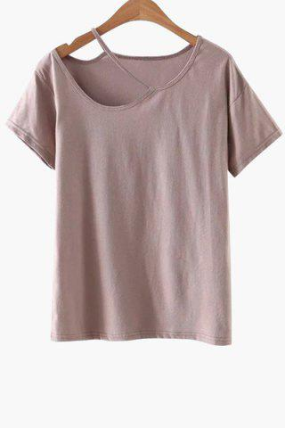 Fashion Casual Short Sleeve Cut-Out T-Shirt PINK M
