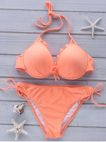 Sale Women's Chic Candy Color Halter Bikini Suit - M ORANGEPINK Mobile