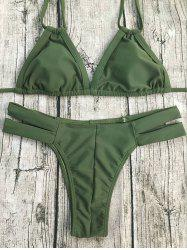 Women's Chic Halter String Army Green Bikini -