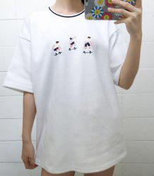 Leisure Style Round Collar Short Sleeve Embroidered Skater T-Shirt For Women -