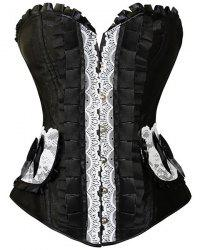Retro Style Strapless Lace-Up Bowknot Embellished Lace Splicing Corset For Women - BLACK M