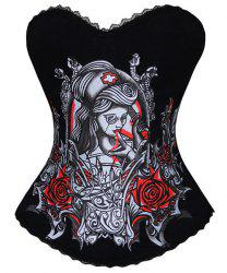 Retro Style Strapless Rose and Figure Print Corset For Women - RED WITH BLACK