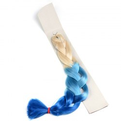 Fashion Long Blonde Ombre Blue Heat Resistant Synthetic Braided Hair Extension For Women -