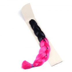 Fashion Two-Tone Ombre Long Synthetic Braided Hair Extension For Women - BLACK AND ROSE RED