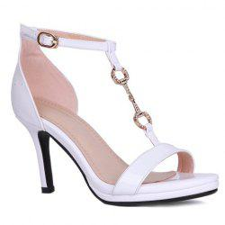 Trendy T-Strap and Metal Design Sandals For Women -