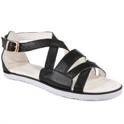 Concise Flat Heel and Cross Straps Design Sandals For Women