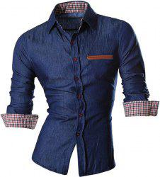 Plaid Design Long Sleeve Denim Shirt -